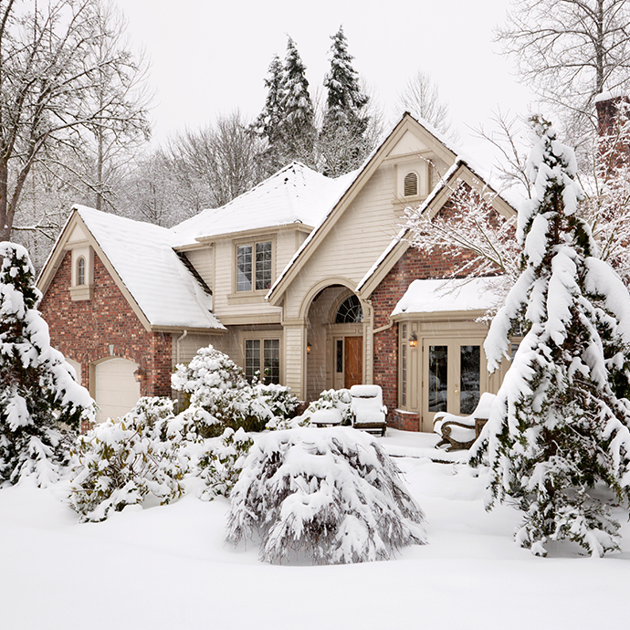 Beautiful home in snowy landscape in Denver, Colorado