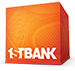 """Orange Box with """"1STBANK"""" at the bottom in white displayed as logo"""
