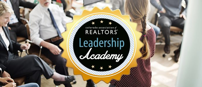 Leadership Academy Seal with background of woman teaching a class