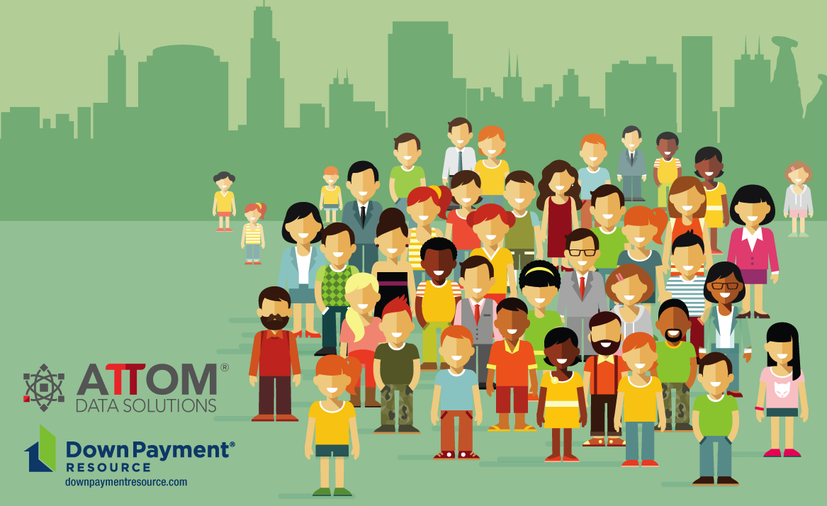 Group of cartoon men, women, and children standing outside with the silhouette of buildings behind them. Down Payment Resource and ATTOM Logos included in photo.