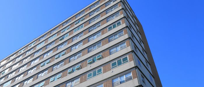 View from the ground up of high rise housing.