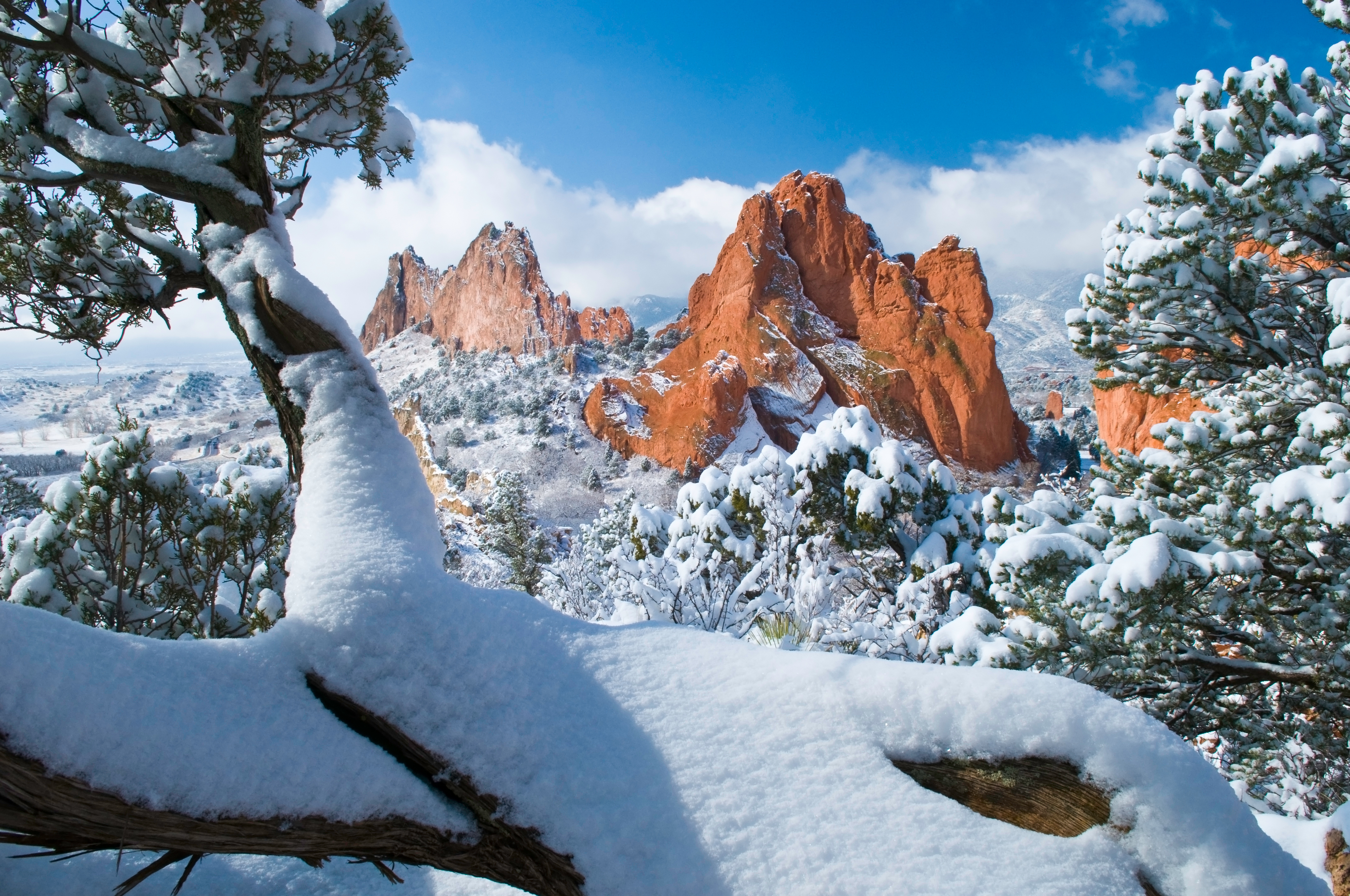 South Gateway Rock Formations at the Garden of the Gods Park in Colorado Springs Colorado after a fresh snowfall