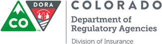 "Starting from the left: Green Triangle to look like mountain with CO in the middle. Upside down triangle with outlines of people inside with DORA at the top. Text ""COLORADO Department of Regulatory Agencies Division of Insurance"" next to it"