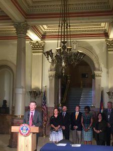 Governor Hickenlooper describing legislation that limits marijuana diversion to the illegal market prior to bill signing.