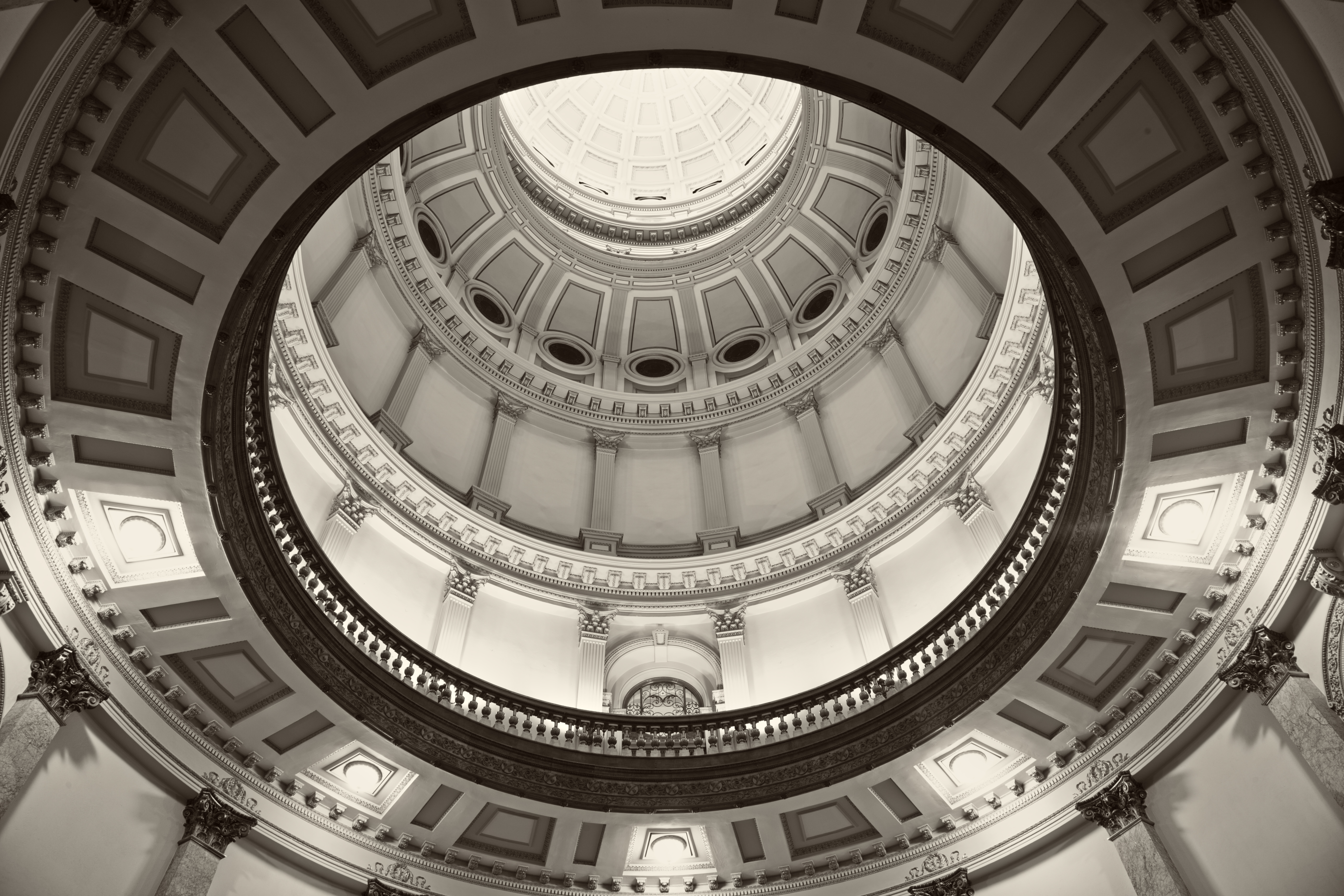 Denver Colorado - inside State Capitol Building. BW image.