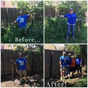 Before and After Photo as the Colorado Association of REALTORS Foundation helped serve a homeowner in the community with fixing their fence.