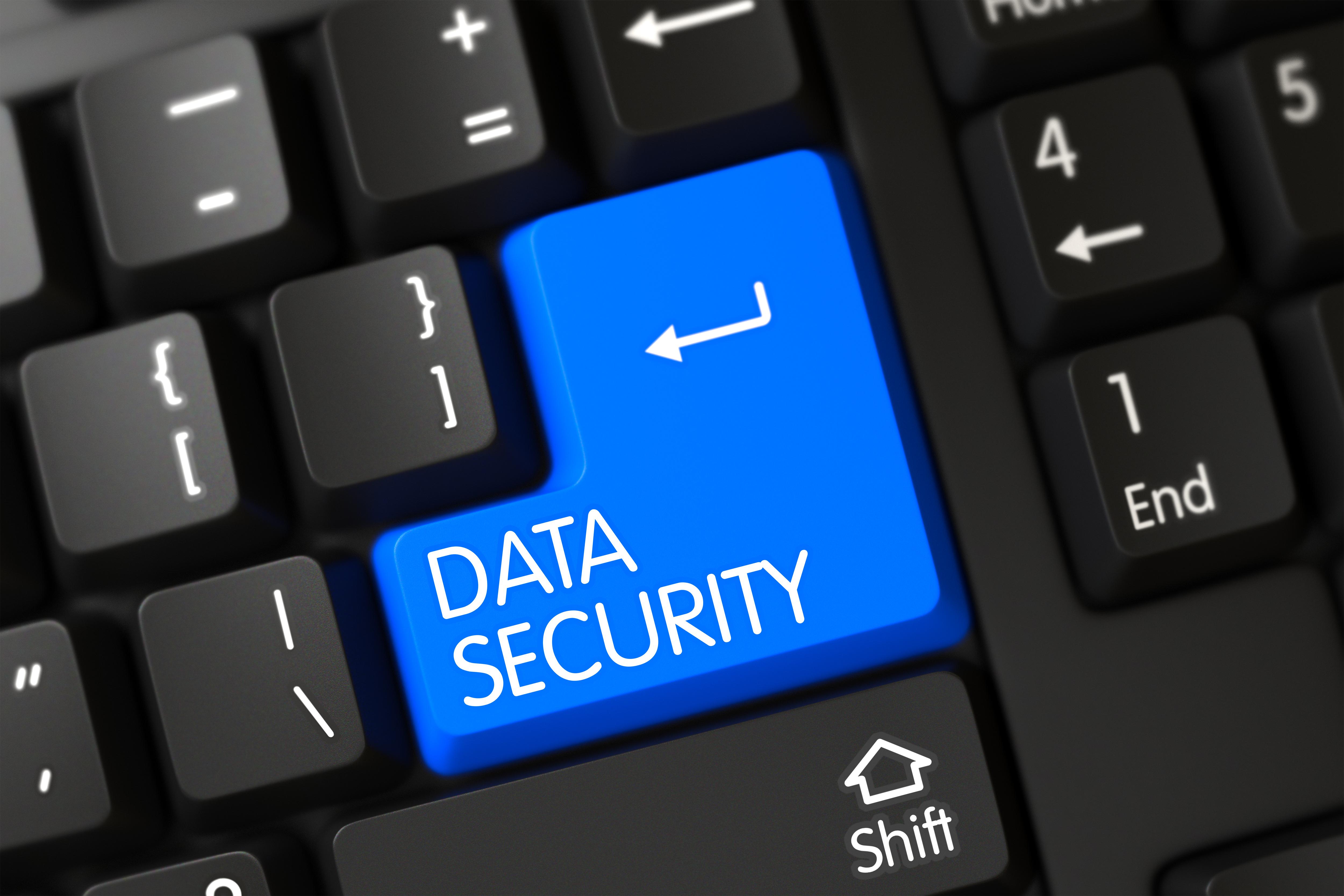 Key Data Security on Modernized Keyboard. Black Keyboard with the words Data Security on Blue Key. Data Security on Black Keyboard Background. Data Security Key. 3D Render.