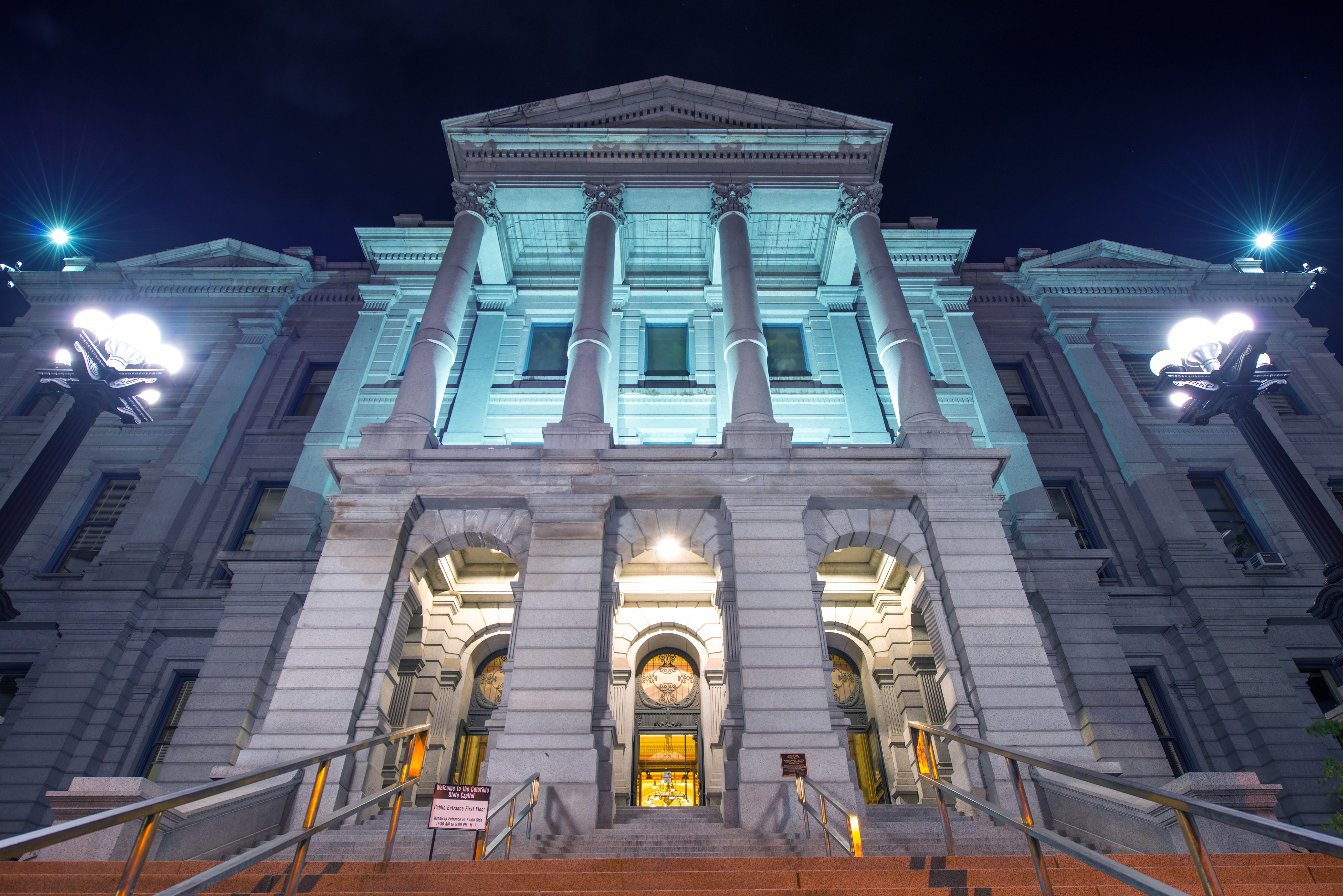 Denver Colorado Capitol Building at Night. Colorado State Capitol Located in Denver Colorado.