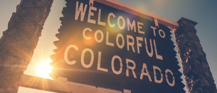 Welcome in Colorado State Entrance Wooden Welcome Sign. Colorado United States.