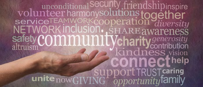 Get involved with your Community Word Tag Cloud - Female open palm hand against rustic stone effect burgundy purple background with the word COMMUNITY floating above surrounded by a word tag cloud
