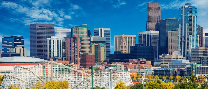 Sunny Day in Denver Colorado United States. Downtown Denver City Skyline and the Blue Sky.