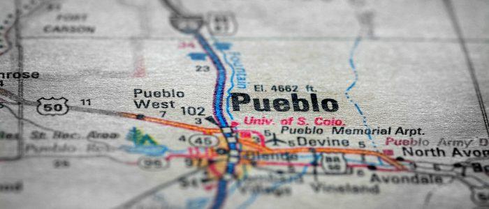 Travel to locations on map views paper destinations Pueblo Colorado