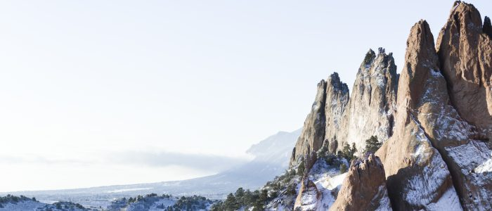 Snowy view of Garden of the Gods in Winter