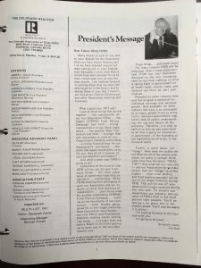 Articl written by Jim Gale, President's Message, in 1978.