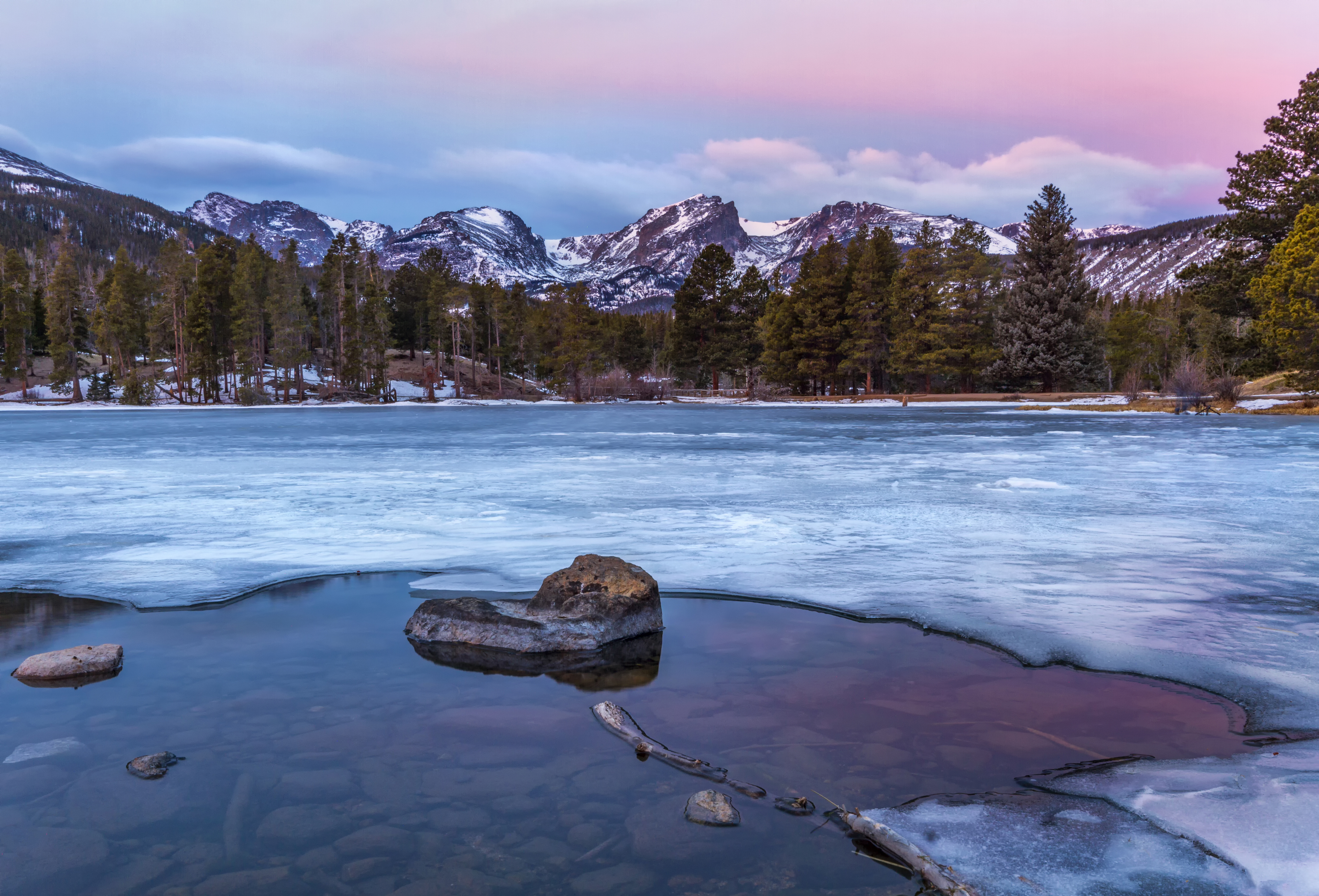 Sunrise on Sprague Lake in Rocky Mountain National park just outside of Estes Park, Colorado