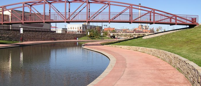 a section of the historic arkansas riverwalk near downtown pueblo, colorado.