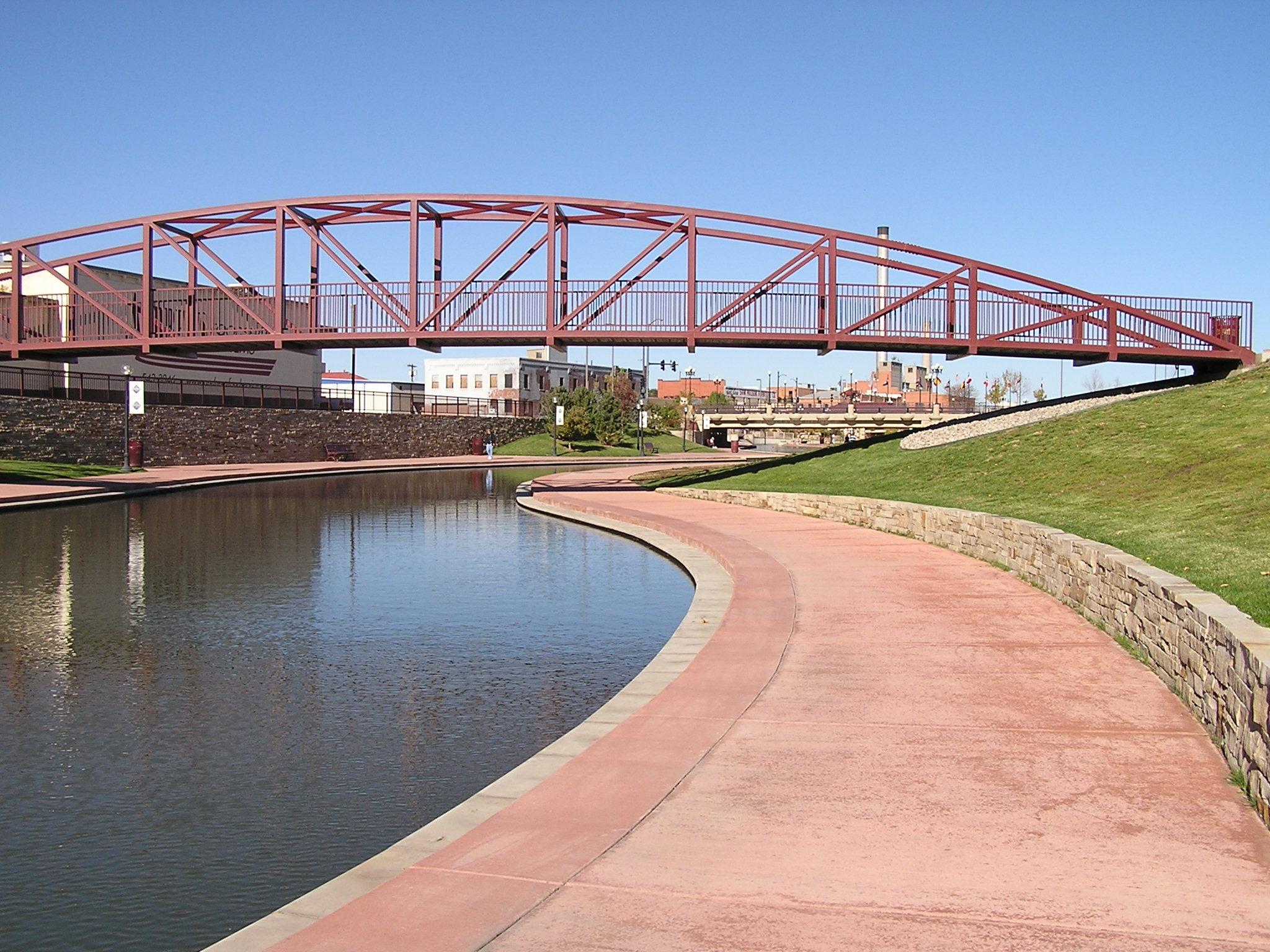 a section of the historic arkansas riverwalk near downtown pueblo, colorado.