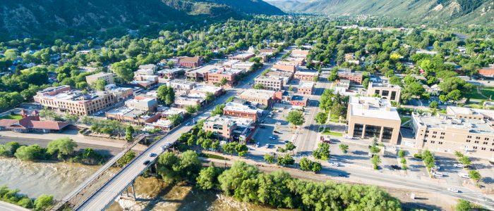 Glenwood Springs Colorado USA-June 20 2015. Aerial view of downtown Gleenwood Springs in the summer.