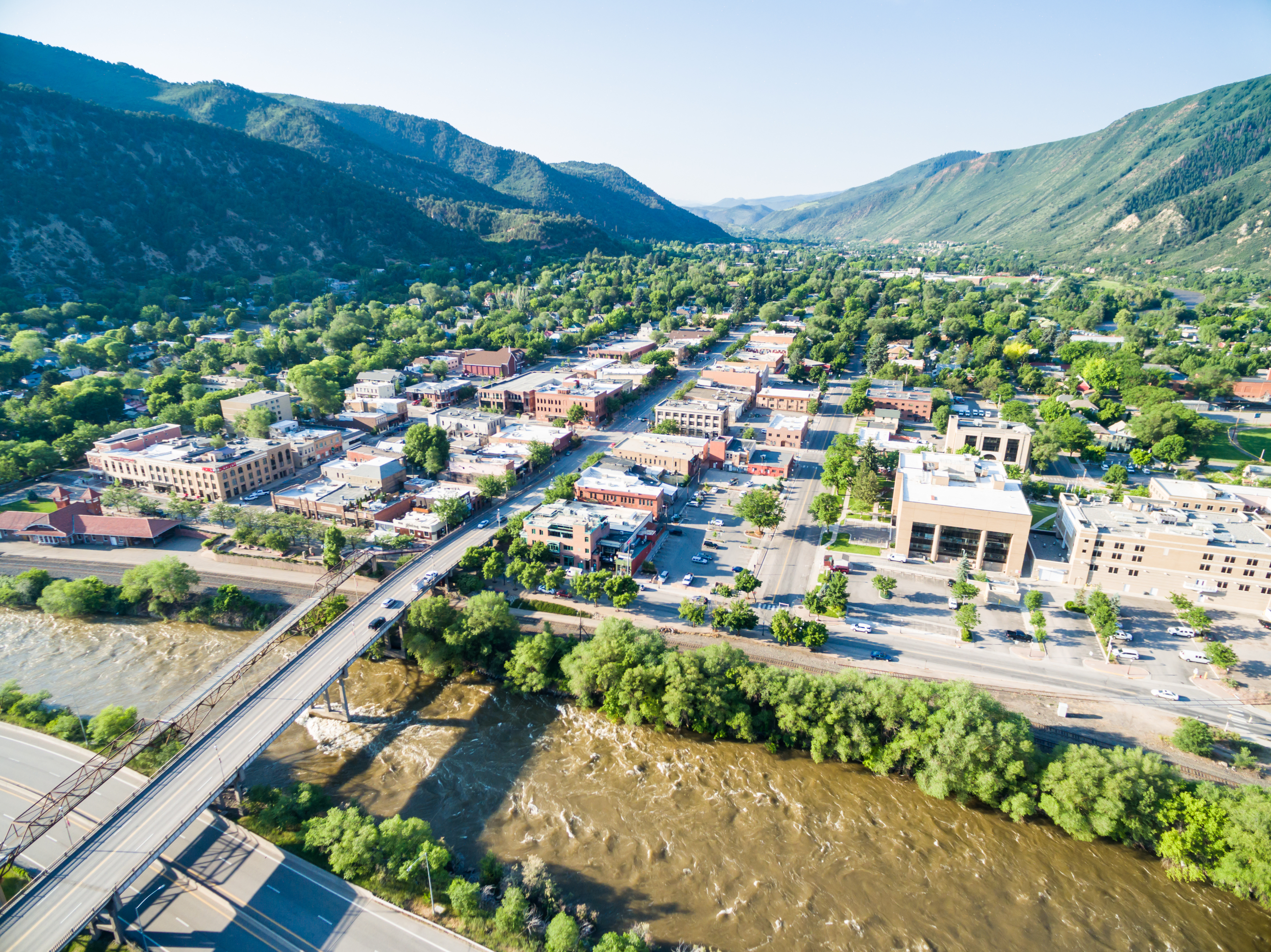 Glenwood Springs Colorado USA-June 20 2015. Aerial view of downtown Gleenwood Springs in the summer.