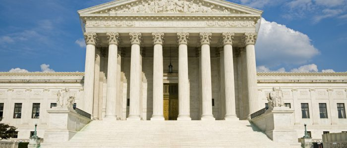 The front of the US Supreme Court in Washington DC.